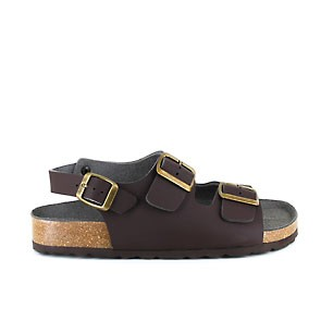 Vegane Sandale | VEGETARIAN SHOES Three Strap Sandal Brown