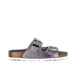Vegane Sandale | VEGETARIAN SHOES Two Strap Sandal Pewter